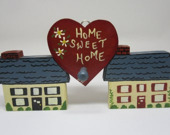 Wall Plaque Vintage One of a Kind Wooden Home Sweet Home Shelf Sitter Handmade and Hand Painted Country Home Decor Gift Idea Primitive Decor