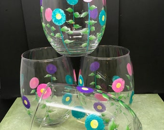Glasses Drinking Hand Painted Clear Glass Floral  Pink, Aqua, and Purple Flowers  SET OF FOUR Kitchen Decor Home Decor Gift One of a Kind