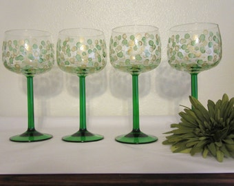 Glasses Crystal Green Stems Luminarc Emeraude Pattern Unique One of A Kind Hand Painted Vintage  Made in France Set of 4 Green Gold Dots