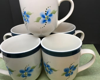 Cups Mugs Blue Floral 08 College Vintage Hand Painted One of a Kind Unique Drinkware Kitchen Decor Cottage Chic Country Decor Gift SET of 4
