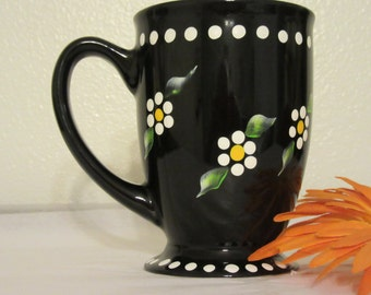 Mug Cup Coffee Hand Painted Unique One of a Kind Black With White Dot Daisies Gift Idea Drinkware Kitchen Decor Barware Gift Idea