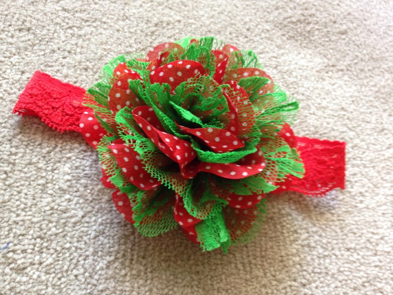 Red and Green Baby headband 3-6 months