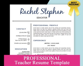 Teacher Resume Template Teaching Elementary CV Educator 2 Pages And Cover Letter Instant Download