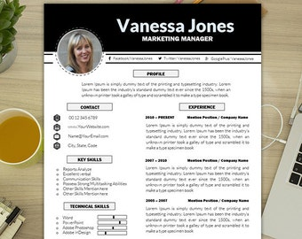 marketing resume template creative resume marketing cover etsy