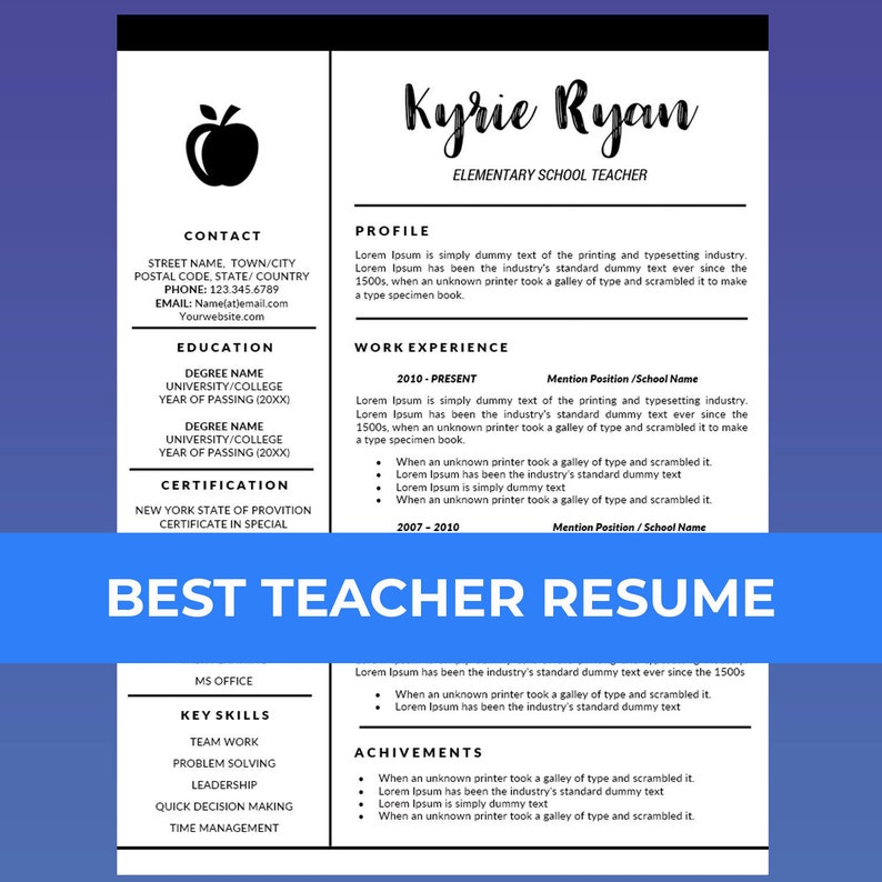 Teacher Resume Template Word / Cover Letter Template, Teaching Resume,  Educator Resume, Education Resume, Elementary Resume, School CV