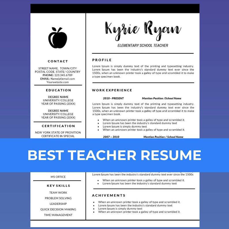 Teacher Resume Template Word Cover Letter Template Teaching Etsy