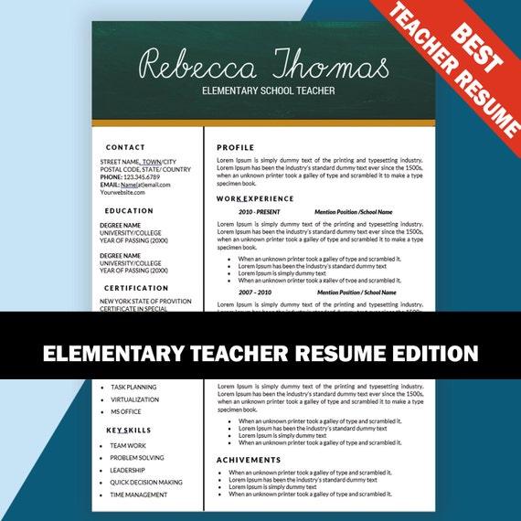 Elementare Lehrer Lebenslauf Lebenslauf Vorlage Lehrer | Etsy