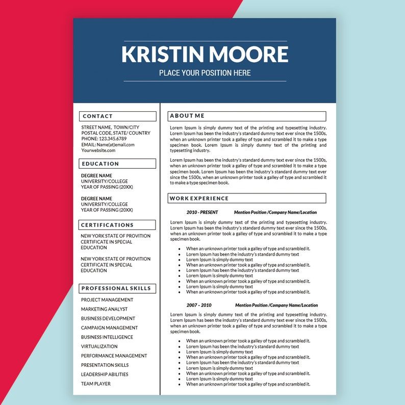 Marketing Resume Template Creative Cover