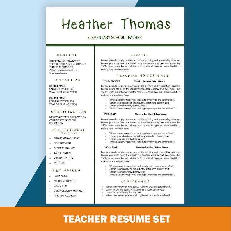Nauczyciel Podstawowego Cv Szablony Cv Nauczanie Cv List Etsy