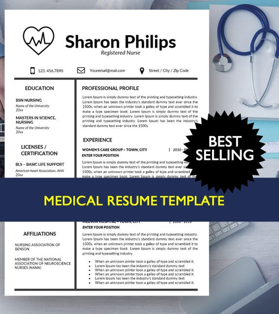 Krankenschwester-Lebenslauf-Vorlage Lebenslauf Vorlage | Etsy