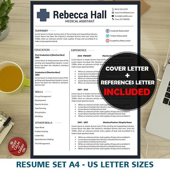Nurse Resume Template Resume Template Nurse Medical Resume Etsy