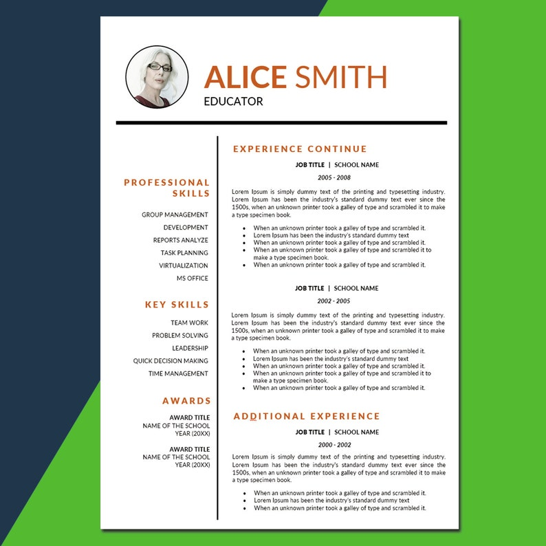 Teacher Resume Template Photo Education CV