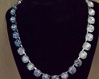 Swarovski Necklace, The Heavenly Blue Ombre Choker - 12mm