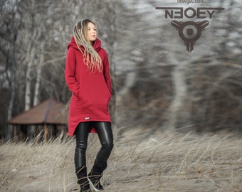 hoodies long sweater MLcreation Black Cathou sweater black floral coral hooded