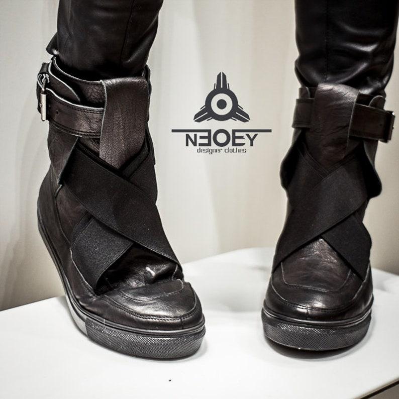b763e30d6b6 Cyberpunk Black leather handmade boots - sneakers Suki. Leather steampunk  unisex punk rock shoes , biker cyberpunk boots