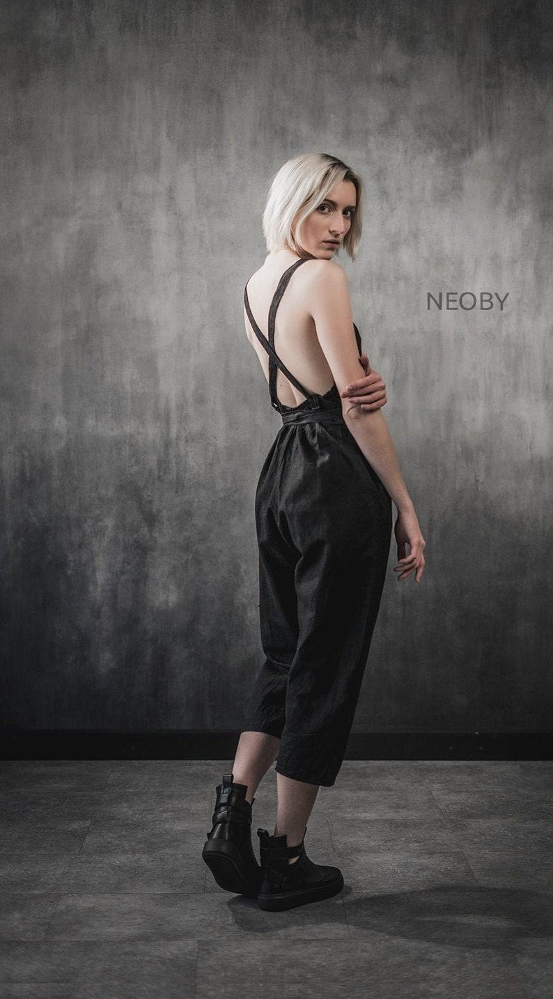 designer jumpsuit Black linen jumpsuit Meishi,Black jumpsuit oversize summer jumpsuit,cyberpunk jumpsuit,women jumpsuit linen jumpsuit