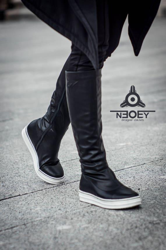 Cyberpunk Etsy Preto demi season leather boots Tênis Hada. Etsy Cyberpunk ed08a8