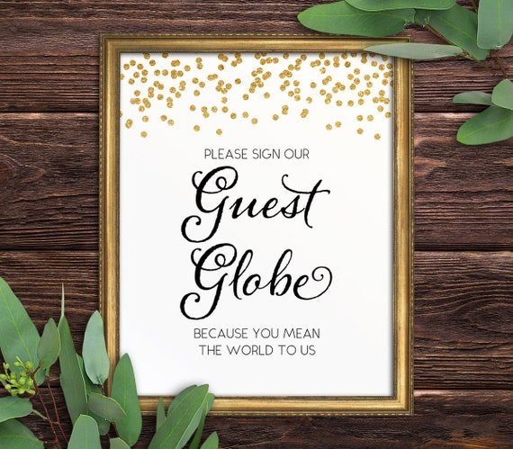 Please Sign our Guest Globe Guest Book Alternative 8x10 Wedding Sign Melia: Guest Globe Printable 5x7 PDF Instant Download Reception