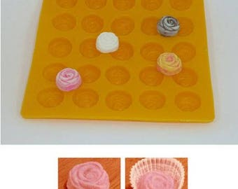 """1"""" Rose Yellow Flexible Mold--Rose Cream Cheese Mint Mold, Butter Mints, Chocolate, Fondant, Etc."""
