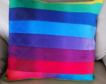 "Rainbow Pillow Cover, Gradient Stripes, Quilted - 16"" x 16"" ***FREE SHIPPING***"