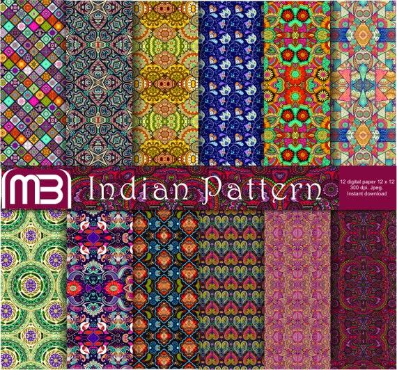 indian pattern scrapbook digital paper pack clip art instant etsy