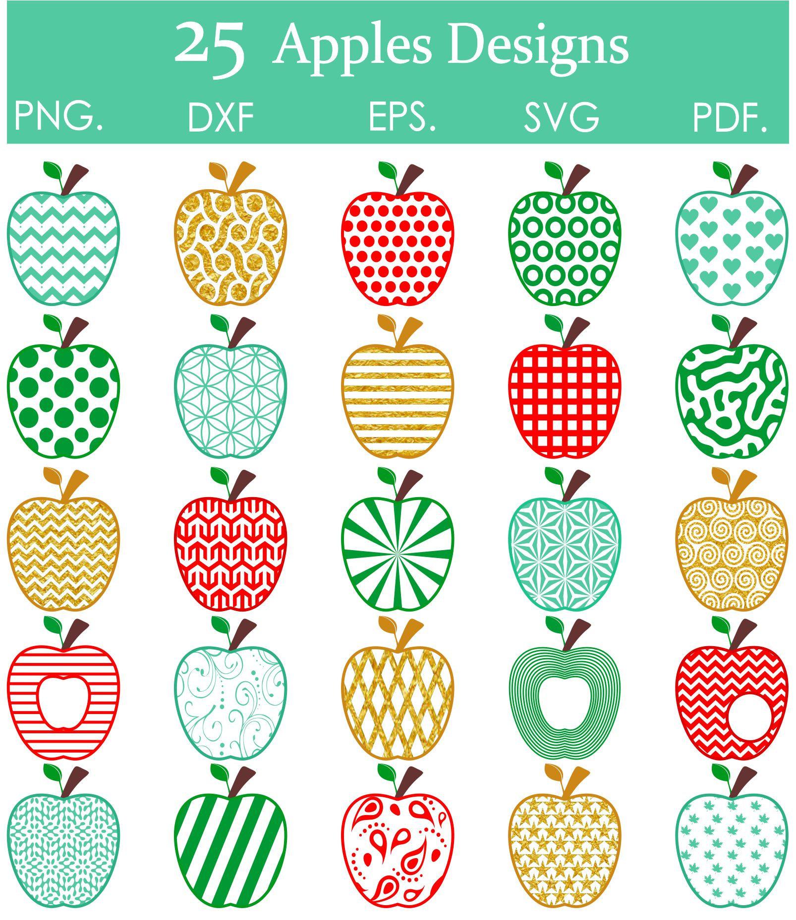 Apple clipart 25 DESIGNES 100 images. Svg eps pdf png   Etsy