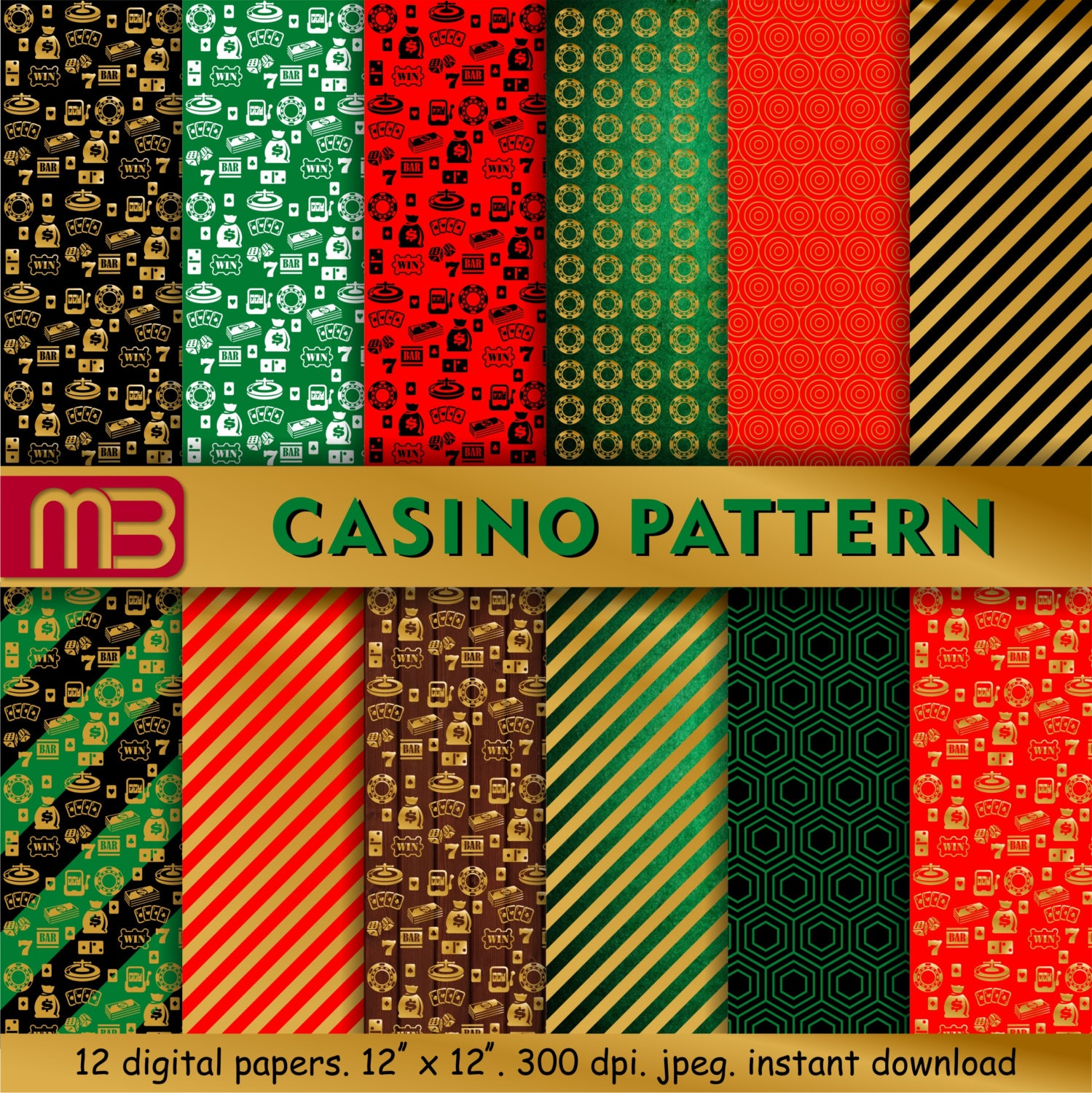 Casino character digital paper pack t for him printable