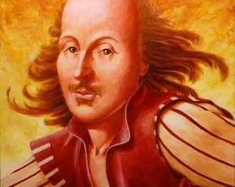 William Shakespeare, Original painting, Shakespeare portrait, Shakespeare painting,  Bard, English writer, English poet, Acrylic painting