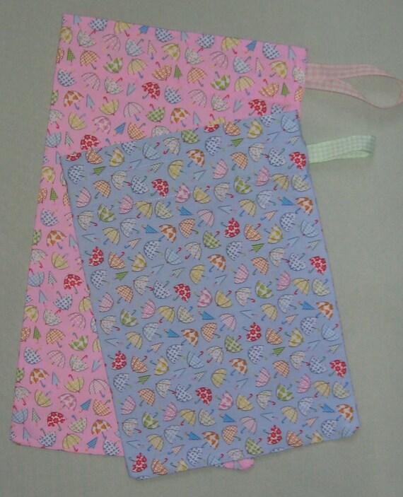 Sac à chaussures de l'enfant avec parapluie imprimé en rose ou bleu