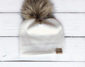 b0cd7f743d7 Cream Pom Hat