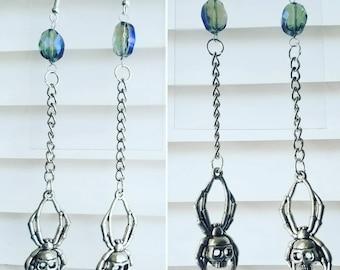 Spiderweb skull spider chain earrings