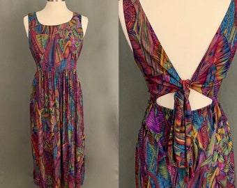 bab76f9c1fe3 1980's Women's Vintage Tropical Print Rayon Maxi Dress With Tie Back by  K.C. Spencer New York