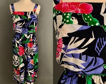 c6551c3b9 1980's Women's 100% Silk Tropical Print Sundress With Pockets