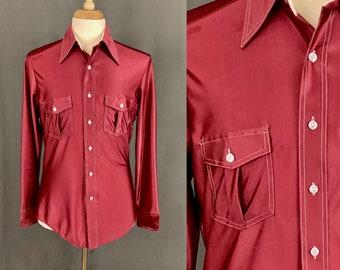 30918e93ae 1970 s Men s Rust Maroon Boho Hippie Disco Long Sleeve Nylon Button Down  With White Stitching