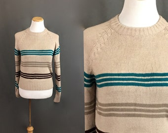 4fc38ceec9 1980 s Women s Tan Teal and Brown Striped Mod Sweater