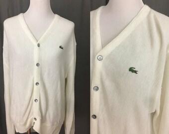 f479703949 Oversized Unisex Off White Izod Lacoste Vintage Preppy Cardigan Size Large