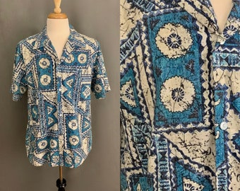 66e3b1f4067b 1970's Men's Blue and White Print Hawaiian Shirt by Howie Made in Hawaii