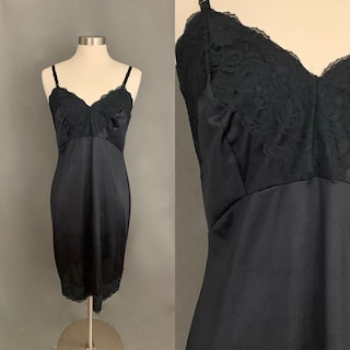 1970's Black Knee Length Size 38 Slip Nightgown Nighty With Lace Details by Dixie Belle