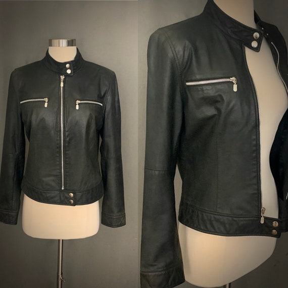1990's Women's Black Leather Moto Jacket Size Medi