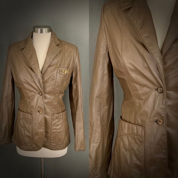 1970's Women's Taupe Brown Leather Fall Blazer Ja… - image 1
