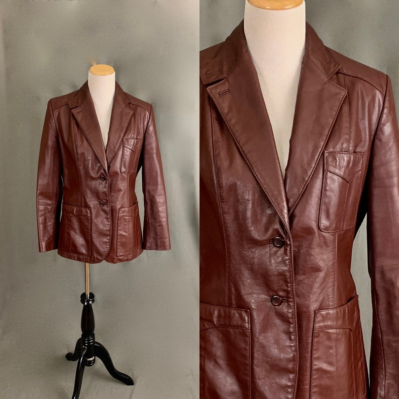 f6345e962 1970's Leather Jacket by Etienne Aigner Oxblood Brown Red Burgundy FREE  SHIPPING
