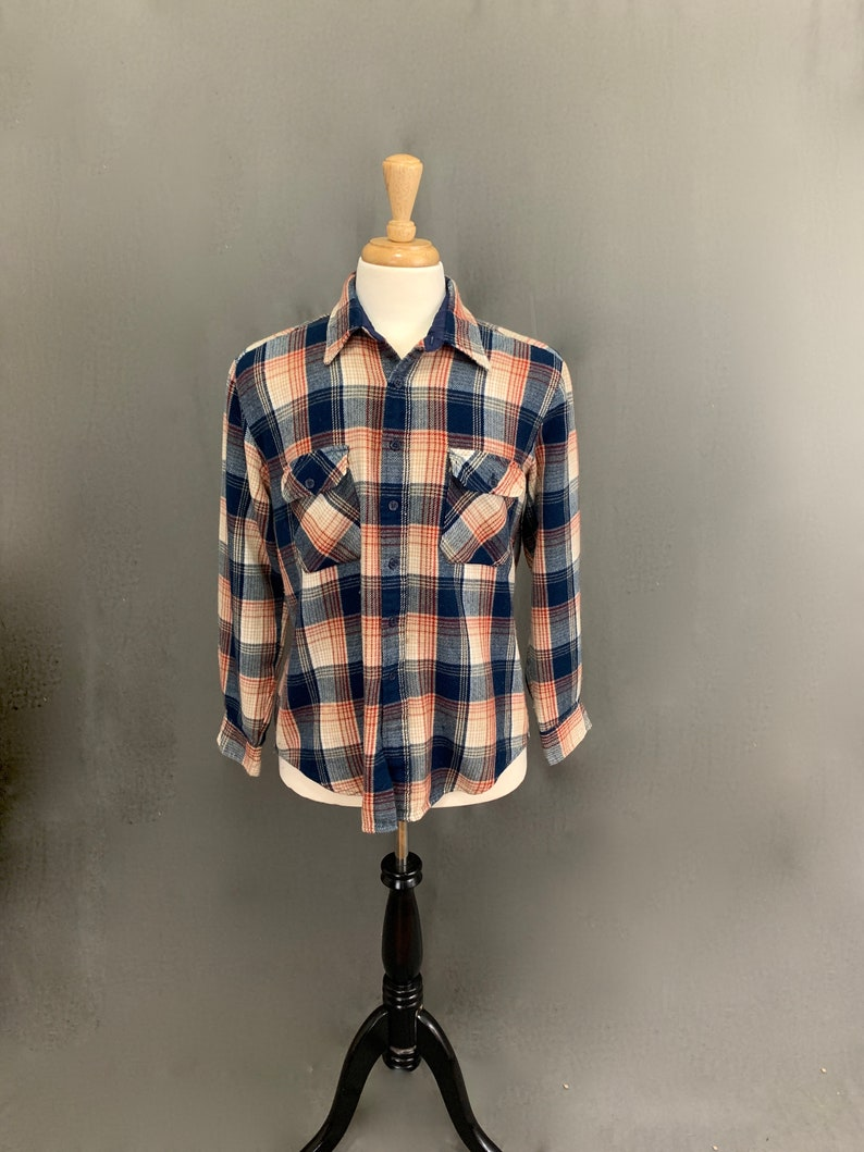 Mens 1970/'s Vintage Acrylic Flannel Blue Red Tan Long Sleeve Winter Fall Shirt by Ozark Trail