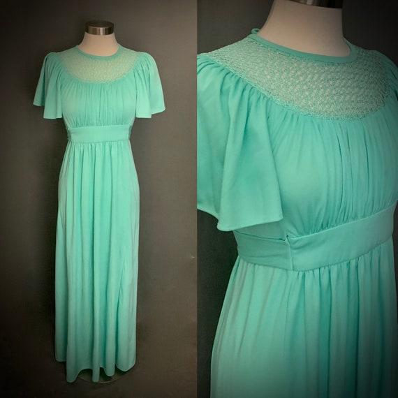 1970's Boho Maxi Dress  Crochet   Mint Green   Emp