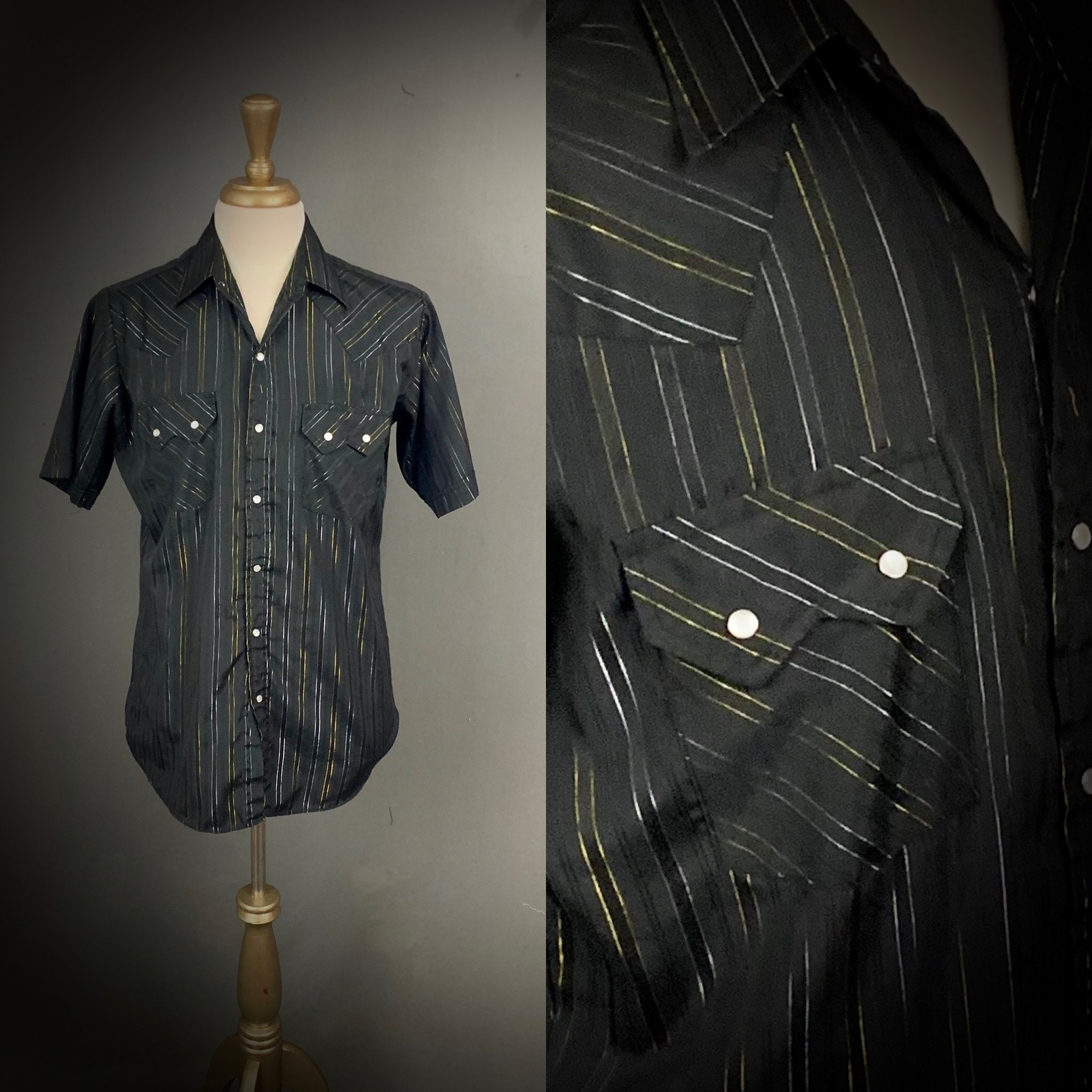 1970s Mens Shirt Styles – Vintage 70s Shirts for Guys Mens Vintage Ely Cattleman Pearl Snap Button Short Sleeve Shirt Size Medium $0.00 AT vintagedancer.com