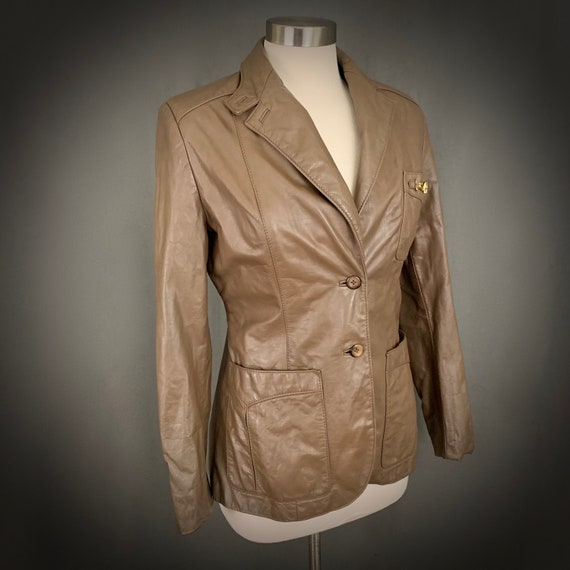 1970's Women's Taupe Brown Leather Fall Blazer Ja… - image 6