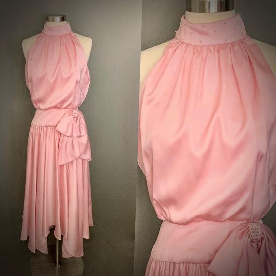 1970's  Dessy Creations New York   Pink Satin Halt