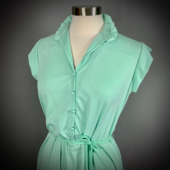 Vintage 70's Mint Green Short Sleeve Disco Dress - image 3