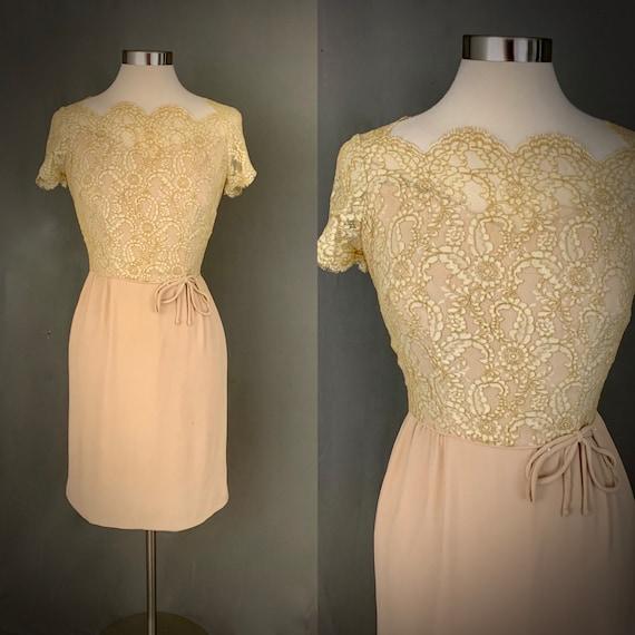 1960's Formal Dress Scalloped Lace Neckline Cockta