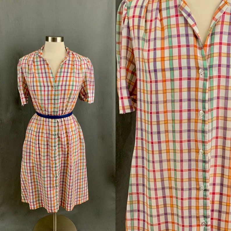 1960/'s Plaid Vintage Button Down Shirtdress Day Dress Shift With Pockets by The Traveler by Connie