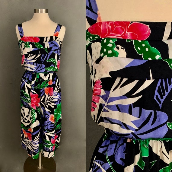 1980's Women's 100% Silk Tropical Print Sundress W